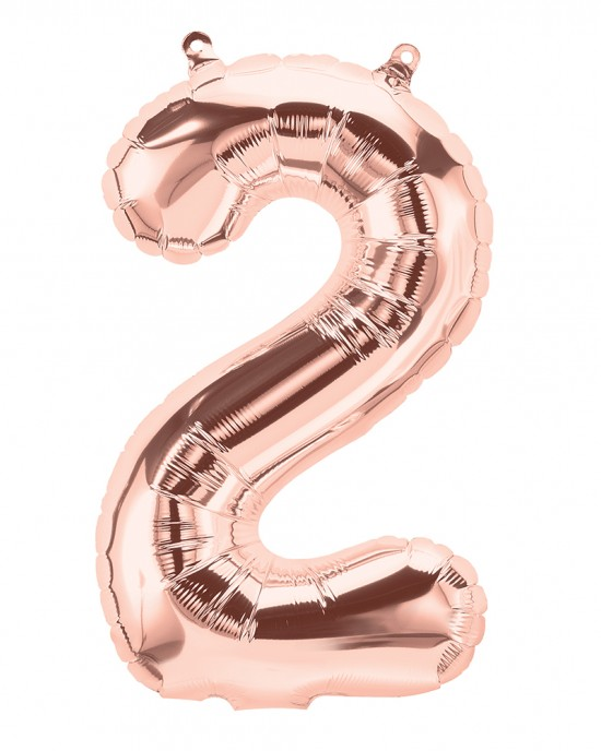 "16"" Rose Gold 2 Number Balloon"