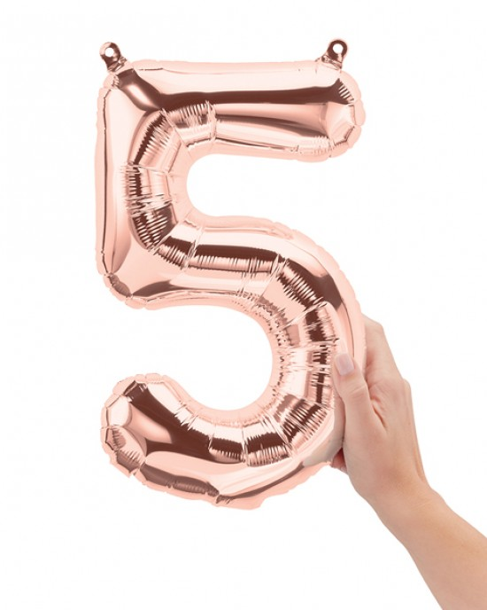 """16"""" Rose Gold 5 Number Balloon"""