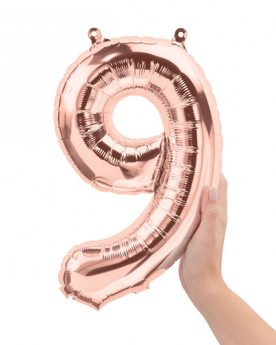 "16"" Rose Gold 9 Number Balloon"