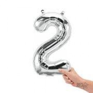 """16"""" Silver 2 Number Balloon"""
