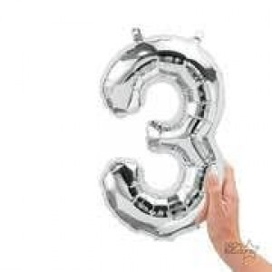 """16"""" Silver 3 Number Balloon"""