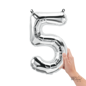 """16"""" Silver 5 Number Balloon"""