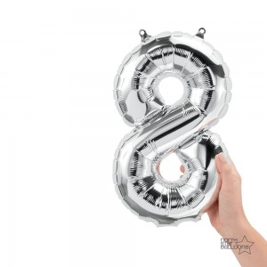 """16"""" Silver 8 Number Balloon"""