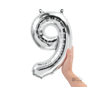 """16"""" Silver 9 Number Balloon"""