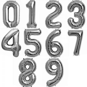 """34"""" Silver Foil Number Balloon"""