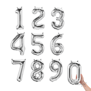 """16"""" Silver Number Balloon"""