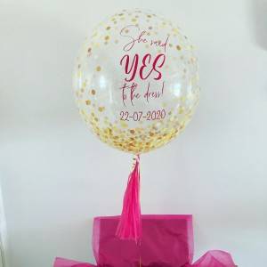 "Boxed 24"" Gold Dots Bubble Balloon in a box"