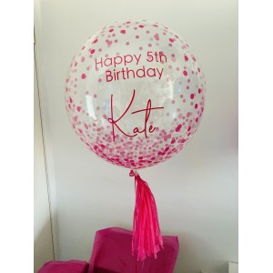 "Boxed 24"" Pink Dots Bubble Balloon in a box"