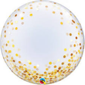 "24"" Gold Dots Bubble Balloon"