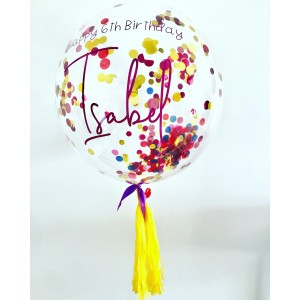 "Boxed Custom 24"" Confetti Bubble Balloon in a box"