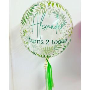 """24"""" Green Fern Bubble Balloon"""