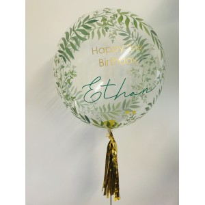 "Boxed 24"" Green Fern Bubble Balloon in a box"