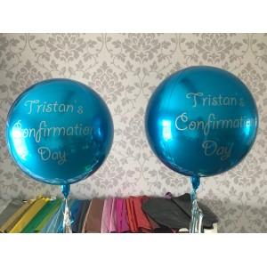 Custom Blue Orbz Foil Balloon in a Box