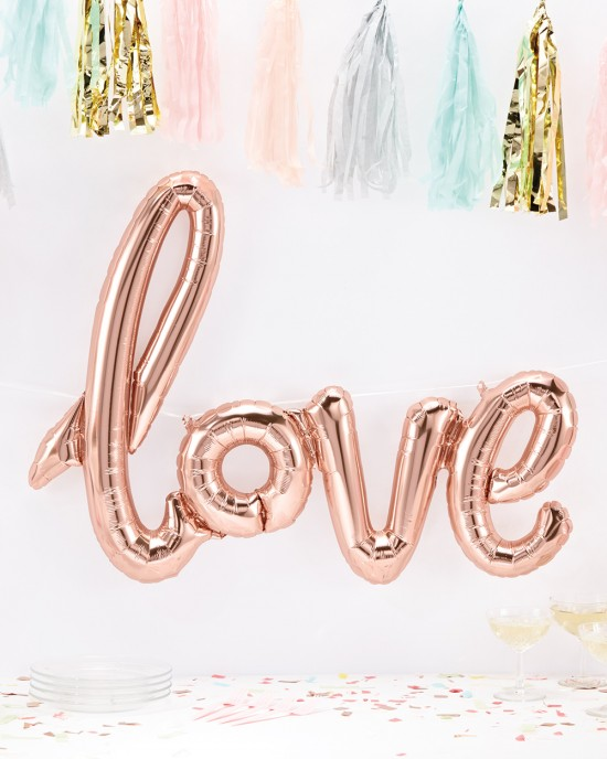 Script 'Love' Rose Gold Balloon