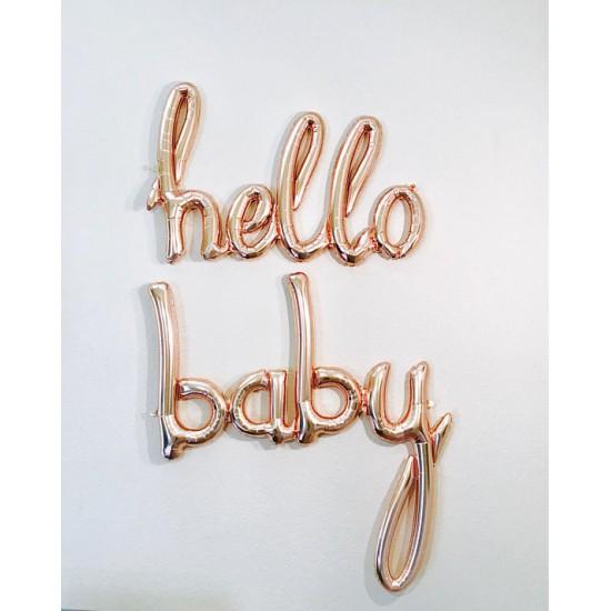 Script 'Hello' Rose Gold Balloon