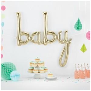 Script 'Baby' White Gold Balloon