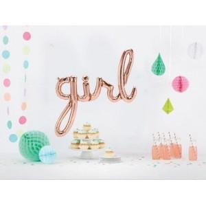 Script 'Girl' Rose Gold Balloon