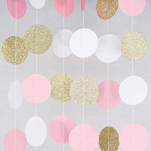 Balloon Tails - Pink & Gold Glittered Circles