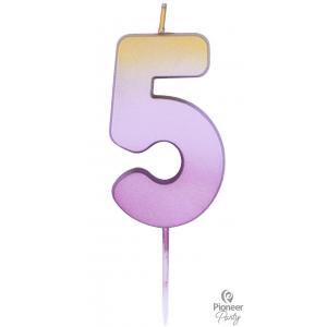 Rose Gold Ombré Number 5 Candle