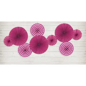 Trio of Hot Pink Party Paper Wheels Fans