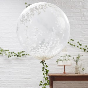 "36"" White Confetti Balloons - 3 Pack"