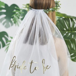 'Bride To Be' Eucalyptus Veil & Crown Hen Party
