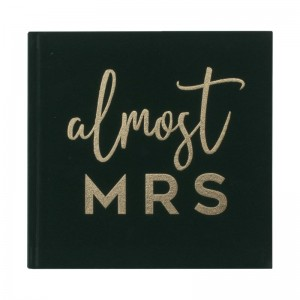 'Almost Mrs' Green Velvet Foiled Guest Book