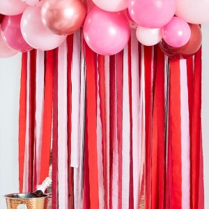 Streamers Decoration - Red, Pink & Rose Gold