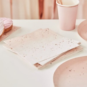 Pink Ombré & Rose Gold Napkins