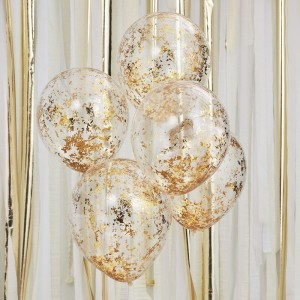 Gold Confetti Filled Balloons - 5pk