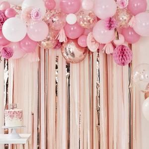 Streamers, Balloon & Fan Backdrop Decoration - Blush & Peach