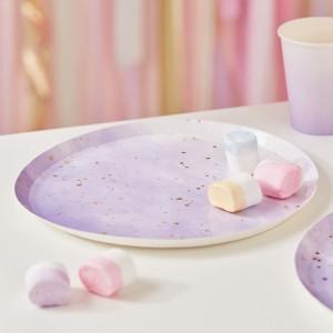 Purple & Gold Foil Paper Plates