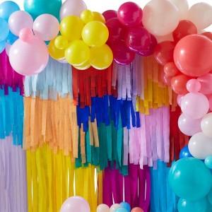 Streamers & Balloon Large Backdrop Decoration - Rainbow