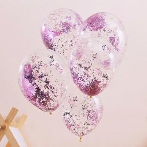 Pink Glitter Filled Balloons - 5pk