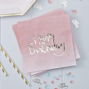 Pink Ombré Happy Birthday Napkins