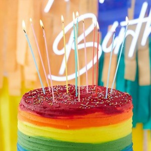 Birthday Candles Skinny Multi Colour Extra Long