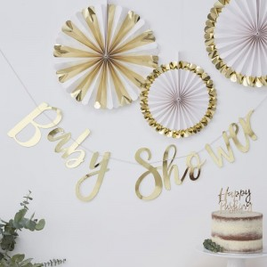 'Baby Shower' Gold Backdrop