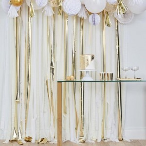 Streamers Decoration - White & Metallic Gold