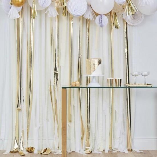 Backdrop Decoration - Gold Metallic Streamers