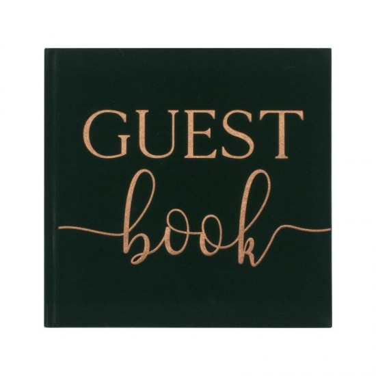 Green Velvet and Rose Gold Foiled Guest Book