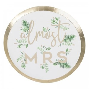 Almost Mrs - Gold Foiled Paper Plates