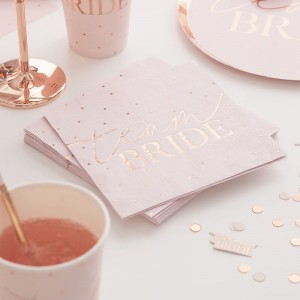 Pink & Rose Gold 'Team Bride' Foiled Napkins