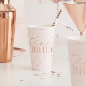 Pink & Rose Gold 'Team Bride' Large Paper Cups 8pk