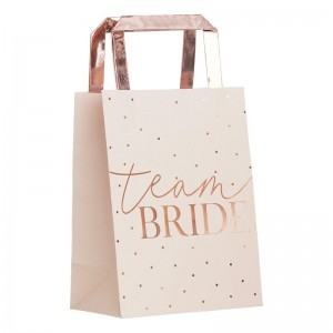Hen Party Bags Pink & Rose Gold 'Team Bride' 5pk
