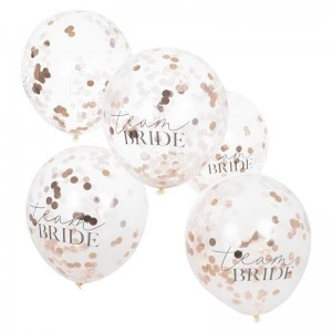 Hen Party 'Team Bride' Rose Gold Confetti Filled Balloons - 5pk