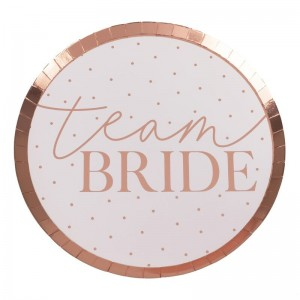 Hen Party Rose Gold 'Team Bride' Paper Plates