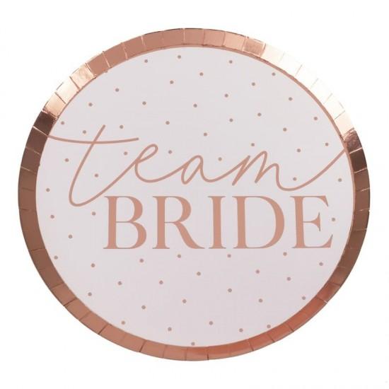 Hen Party Rose Gold 'Team Bride' Paper Plates