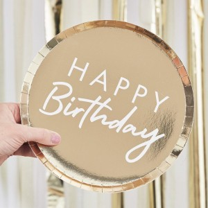 Gold 'Happy Birthday' Paper Plates