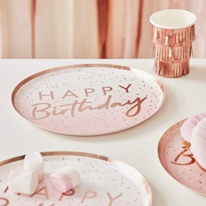 Rose Gold Ombré 'Happy Birthday' Paper Plates