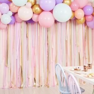 Streamers & Balloon Backdrop Decoration - Pastel